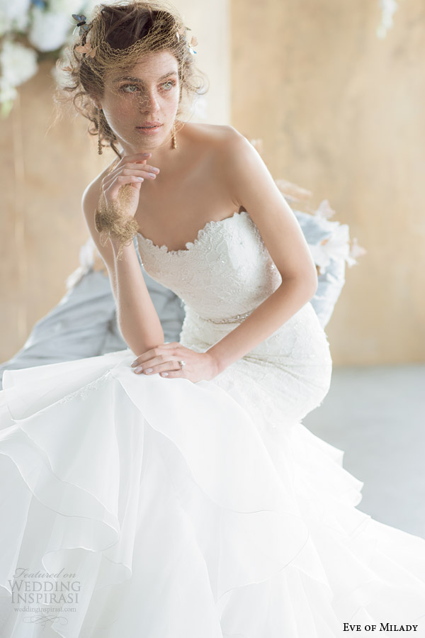 eve of milady 2014 2015 boutique collection strapless wedding dress style 1506 close up