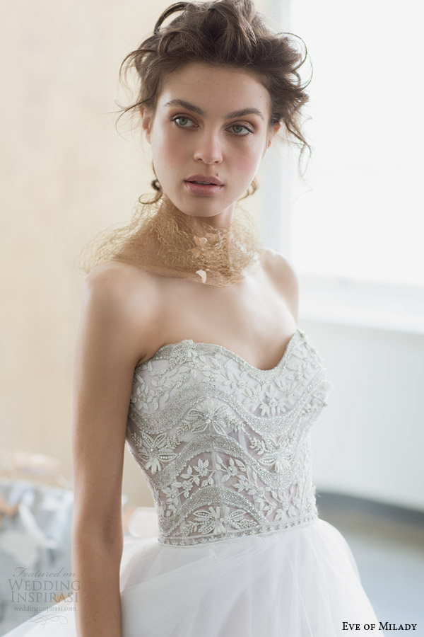 eve of milady 2014 boutique collection strapless wedding dress style 1508 close up bodice