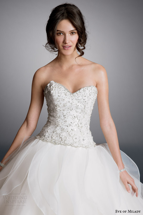 eve of milady bridal 2014 strapless ball gown wedding dress style 1516 bodice close up