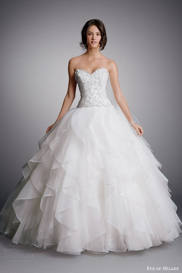 eve of milady bridal 2014 strapless ball gown wedding dress style 1516