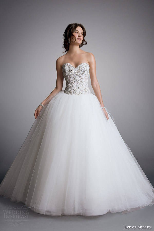 eve of milady bridal 2014 strapless ball gown wedding dress style 1521