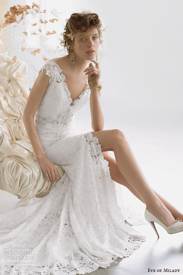 eve of milady couture 2014 cap sleeve wedding dress style 4314