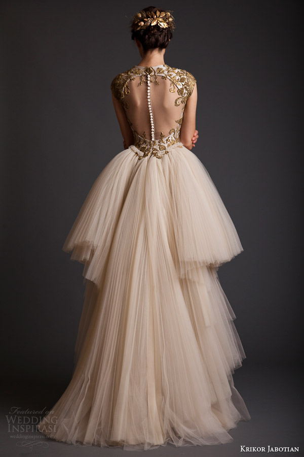 krikor jabotian akhtamar collection spring 2014 cap sleeve couture wedding dress back view portrait back illusion