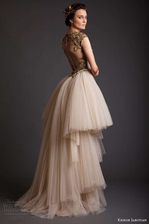 krikor jabotian akhtamar collection spring 2014 cap sleeve couture wedding dress back view