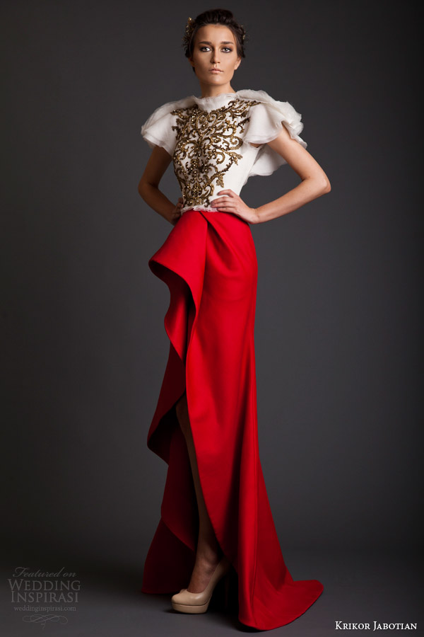 krikor jabotian couture spring 2014 akhtamar collection red and white dress