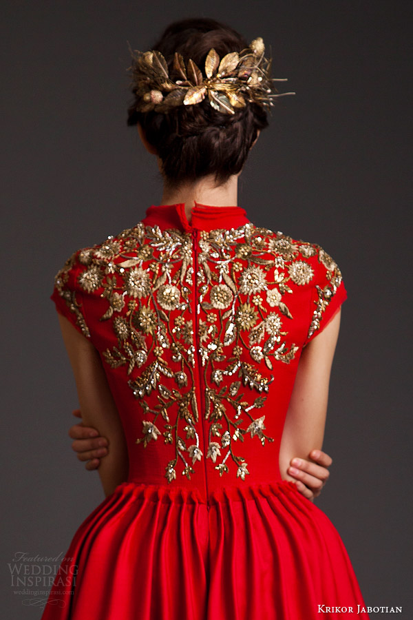krikor jabotian couture spring 2014 akhtamar red mullet dress cap sleeves embroidery back view close up