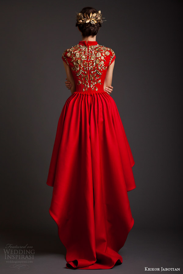 krikor jabotian couture spring 2014 akhtamar red mullet dress cap sleeves embroidery back view
