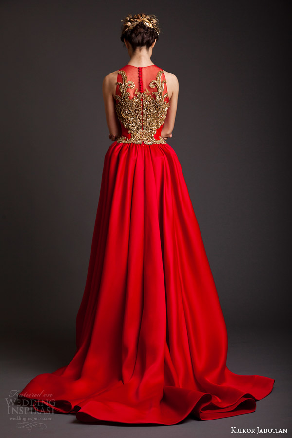 krikor jabotian couture spring 2014 akhtamar sleeveless red gown back view embroidery