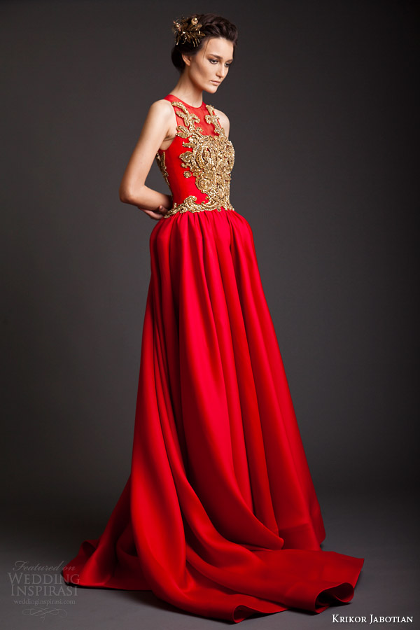 krikor jabotian couture spring 2014 akhtamar sleeveless red gown