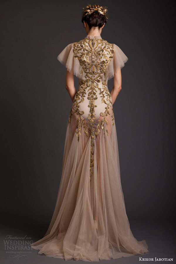 krikor jabotian couture spring 2014 high neck dress with flutter sleeves back view