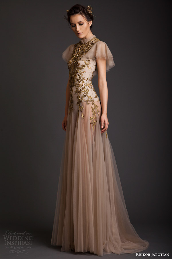krikor jabotian couture spring 2014 high neck dress with flutter sleeves side
