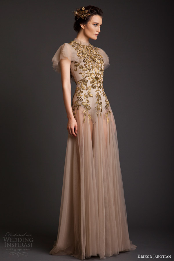 krikor jabotian couture spring 2014 high neck dress with flutter sleeves