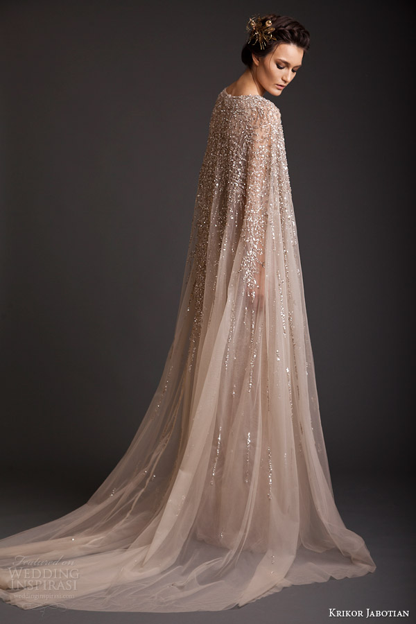 krikor jabotian couture spring 2014 sequin embellished gown back view cape