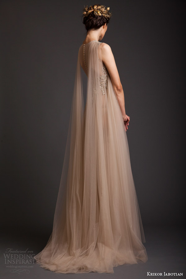 krikor jabotian couture spring 2014 sleeveless ethereal dress back view