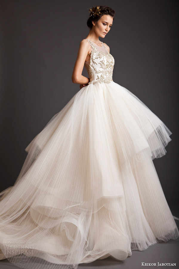 krikor jabotian spring 2014 akhtamar couture wedding dress sleeveless side view