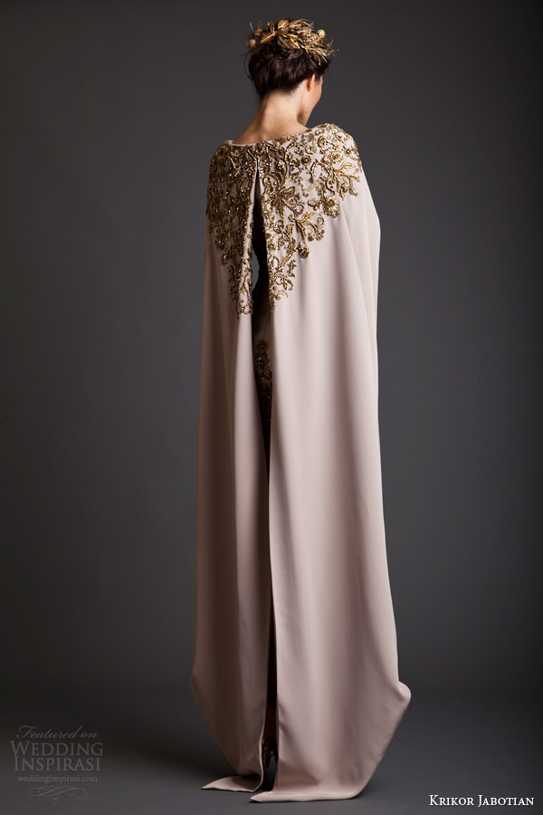 krikor jabotian spring 2014 couture akhtamar short wedding dress embroidered floor length cape back view