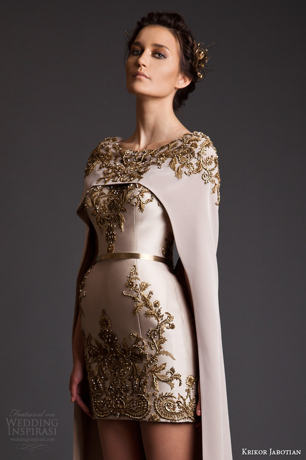 krikor jabotian spring 2014 couture akhtamar short wedding dress embroidered floor length cape close up