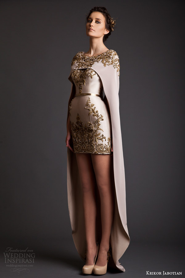 krikor jabotian spring 2014 couture akhtamar short wedding dress embroidered floor length cape