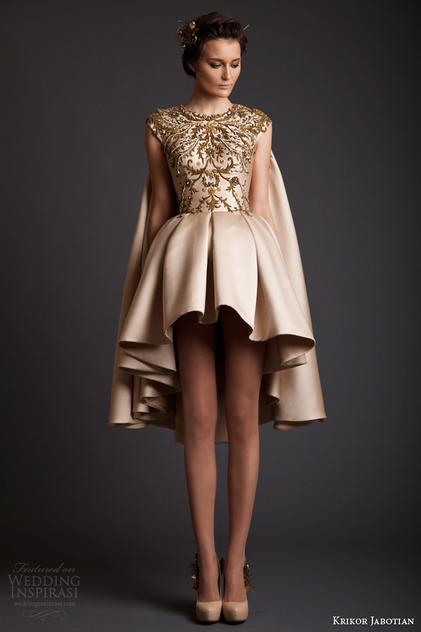 krikor jabotian spring 2014 couture cap sleeve gold asymmetric hem dress with cape