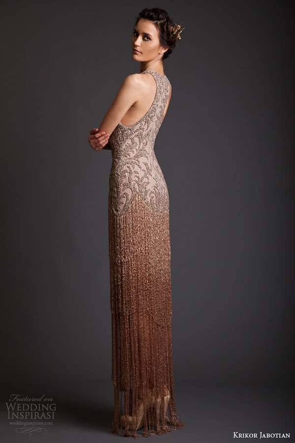 krikor jabotian spring 2014 couture sleeveless fringe dress racer back
