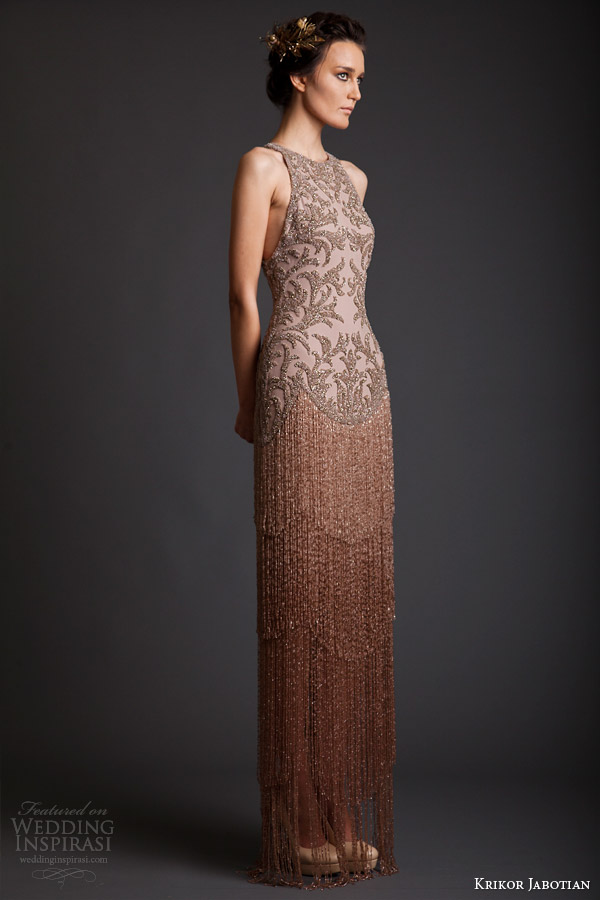 krikor jabotian spring 2014 couture sleeveless fringe dress