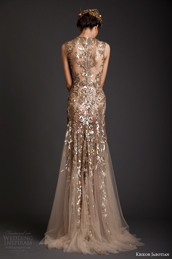 krikor jabotian spring summer 2014 couture sleeveless gold embellished sheath dress back