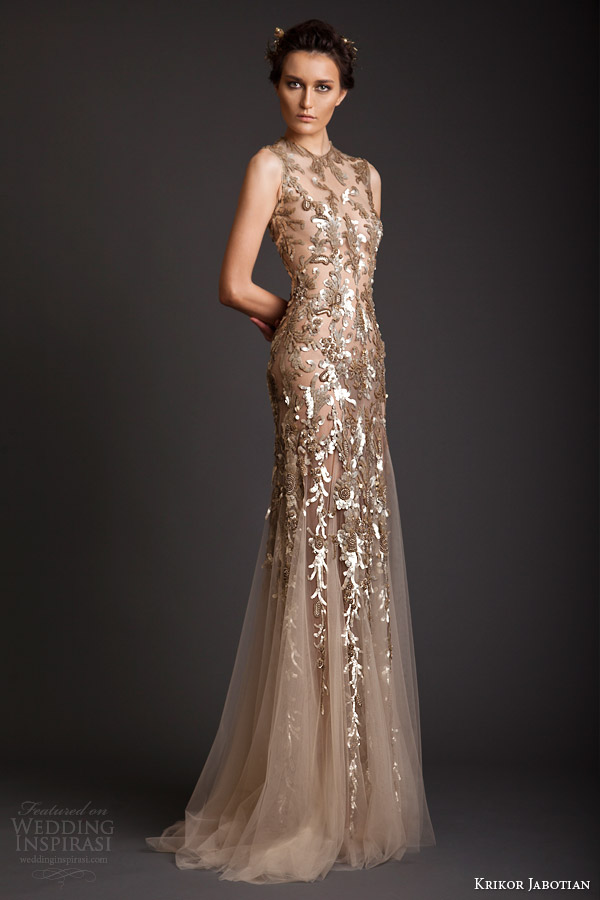krikor jabotian spring summer 2014 couture sleeveless gold embellished sheath dress