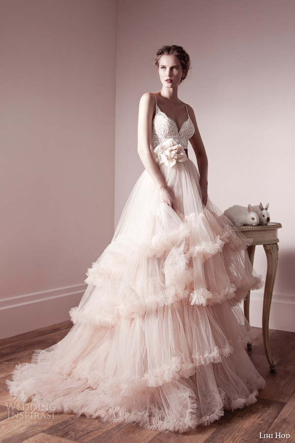 lihi hod spring 2013 bridal romantic pink ruffle wedding dress straps