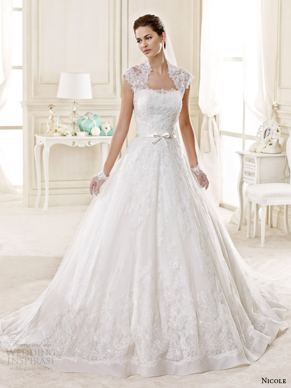 nicole spose bridal 2015 style 14 niab15028iv ball gown wedding dress lace cap sleeves