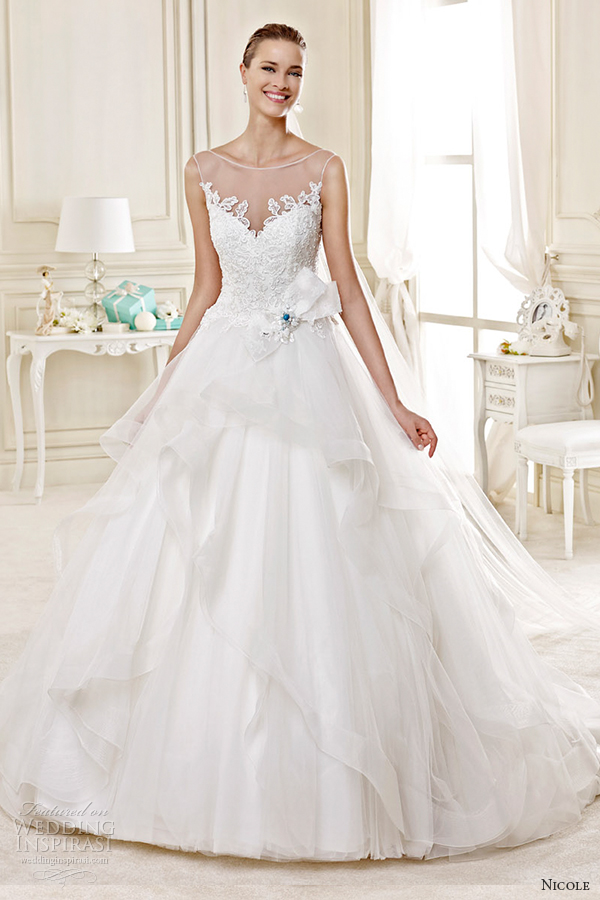 Bridal 2015 style 17 niab15020ivtf illusion sleevless princess a line