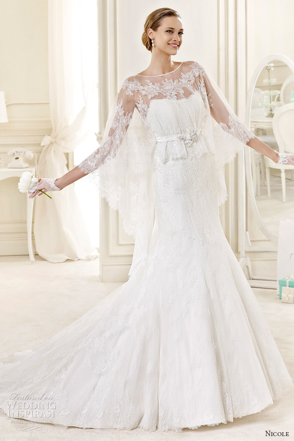 nicole spose bridal 2015 style 21 niab15095ivtf illusion sleeves fit and flare wedding dress