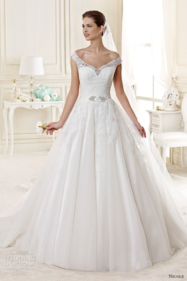 nicole spose bridal 2015 style 22 niab15090iv off the shoulder ball gown wedding dress