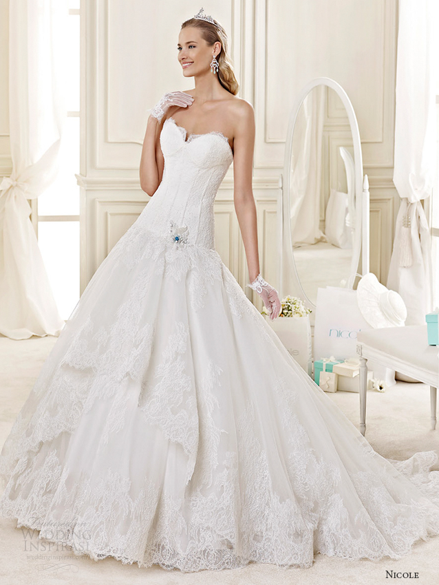 nicole spose bridal 2015 style 25 niab15027ivtf sweetheart strapless a line wedding dress