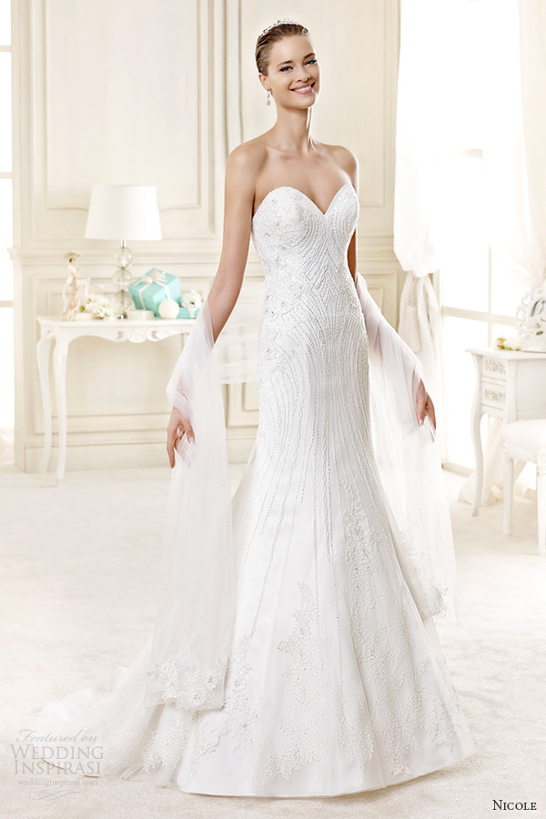 nicole spose bridal 2015 style 26 niab15103iv strapless sweetheart trumpet wedding dress