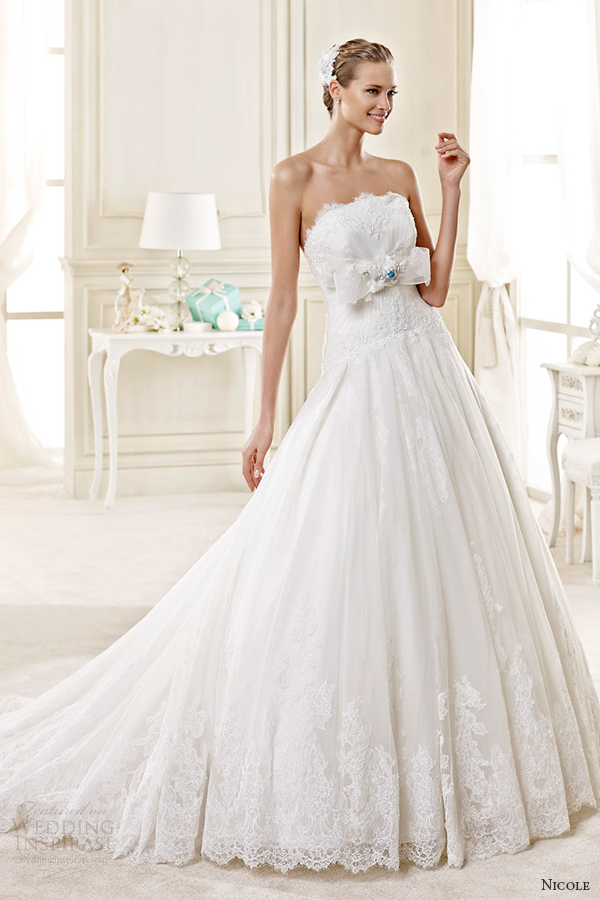 nicole spose bridal 2015 style 35 niab15030ivtf strapless straight across a line wedding dress