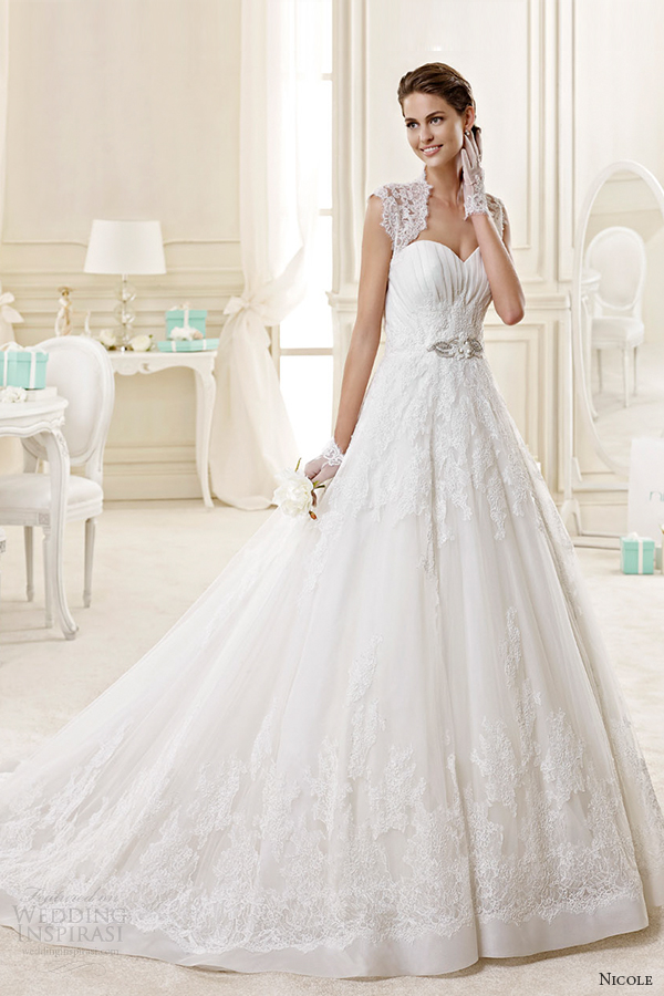 nicole spose bridal 2015 style 36 niab15077iv square lace sleeves sweetheart a line wedding dress