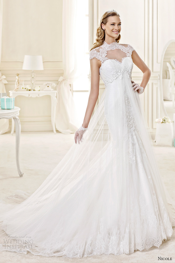 nicole spose bridal 2015 style 37 niab15071iv illusion sweetheart cap sleeves fit and flare wedding dress