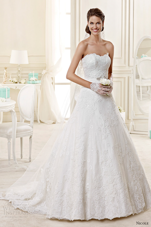 nicole spose bridal 2015 style 38 niab15112iv strapless sweetheart a line wedding dress