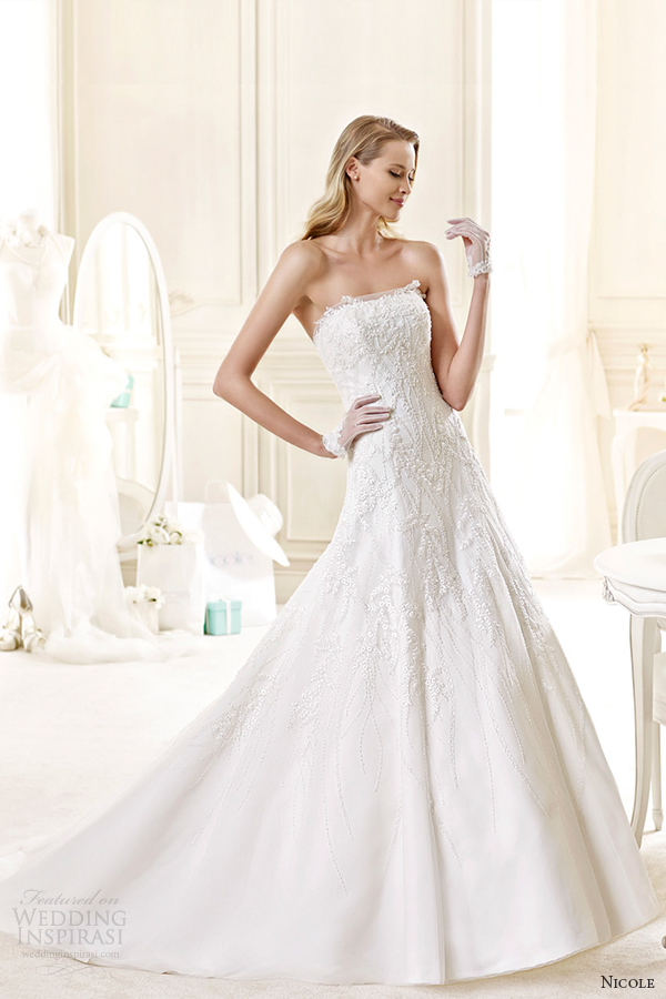 nicole spose bridal 2015 style 42 niab15106iv straight across strapless a line wedding dress