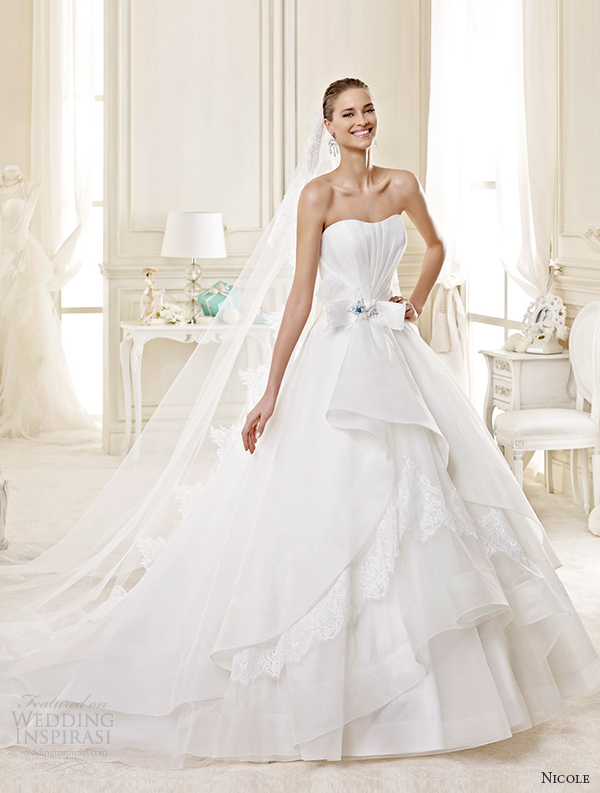 nicole spose bridal 2015 style 44 niab15078ivtf strapless tiered princess a line wedding dress
