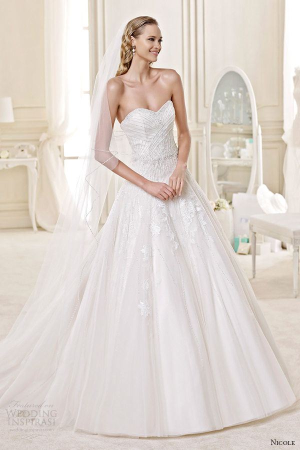 nicole spose bridal 2015 style 53 niab15119di stapless sweetheart a line wedding dress