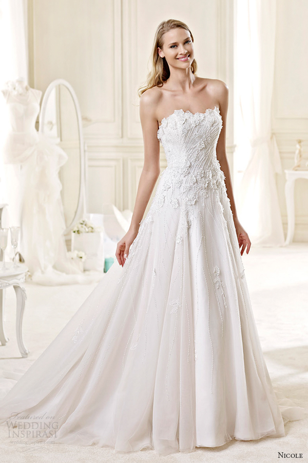 nicole spose bridal 2015 style 57 niab15056iv strapless sweetheart a line wedding dress
