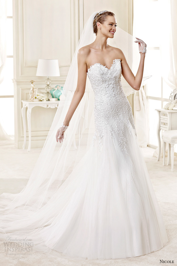 nicole spose bridal 2015 style 59 niab15111iv strapless sweetheart a line wedding dress