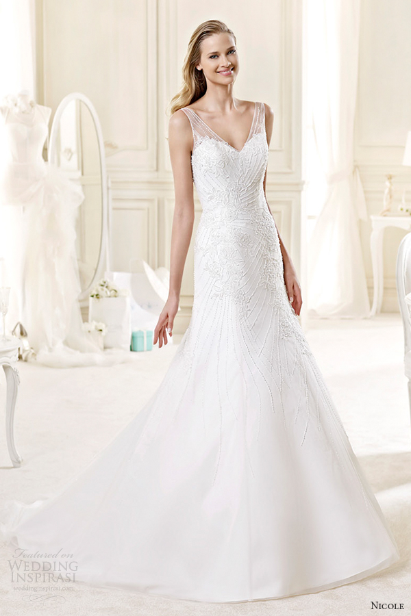 nicole spose bridal 2015 style 61 niab15108iv v neck sweetheart fit and flare wedding dress