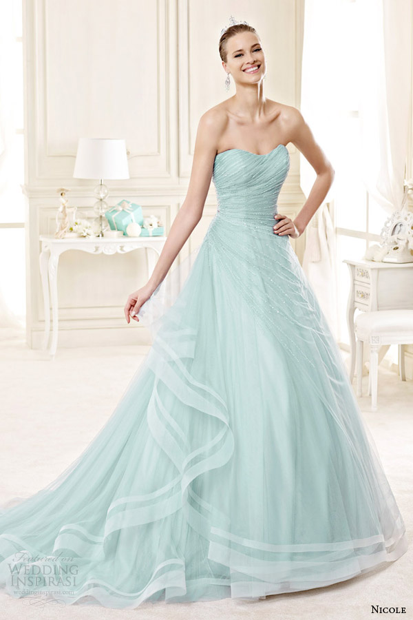 nicole spose bridal 2015 style 7a niab15102tf strapless color wedding dress tiffany blue mint green