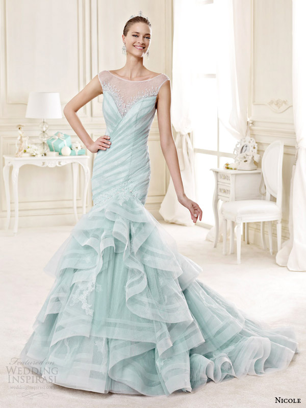 Nicole 2015 wedding dresses wedding inspirasi for Blue wedding dress with sleeves