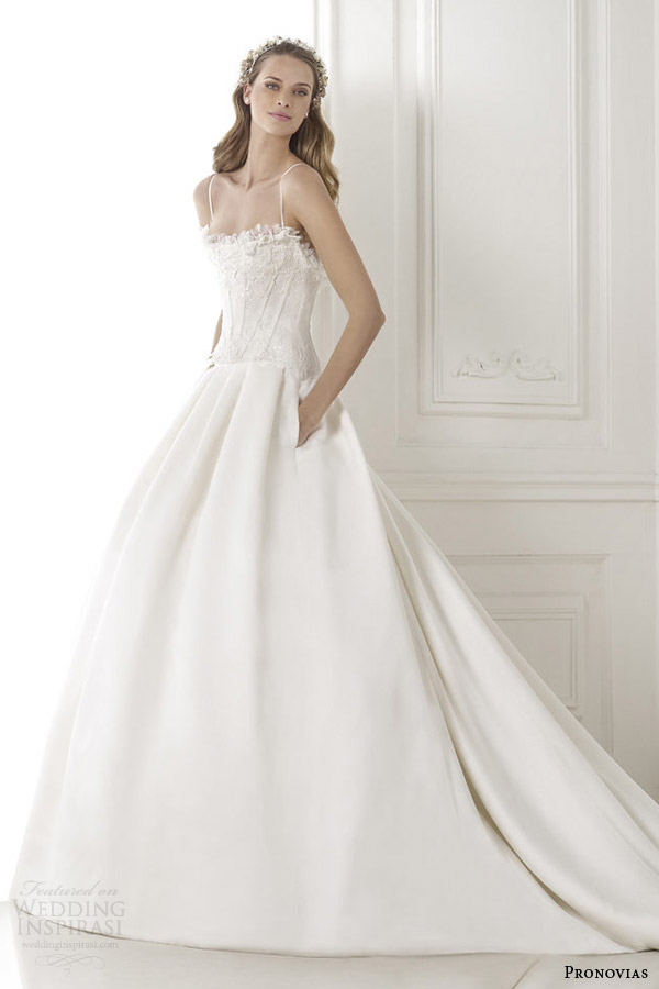 pronovias bridal pre 2015 baronesa wedding dress with straps pockets