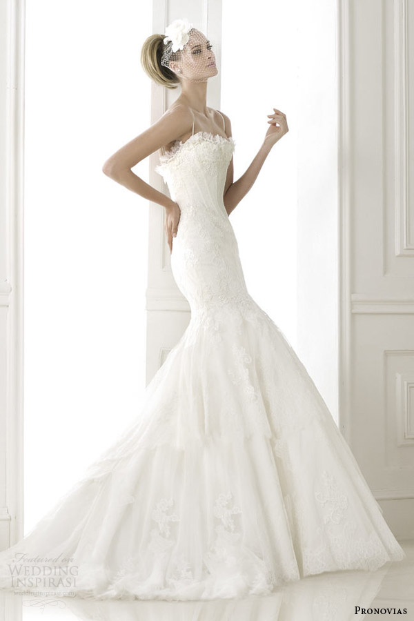 pronovias bridal pre 2015 basel lace fit and flare weddomg dress with straps