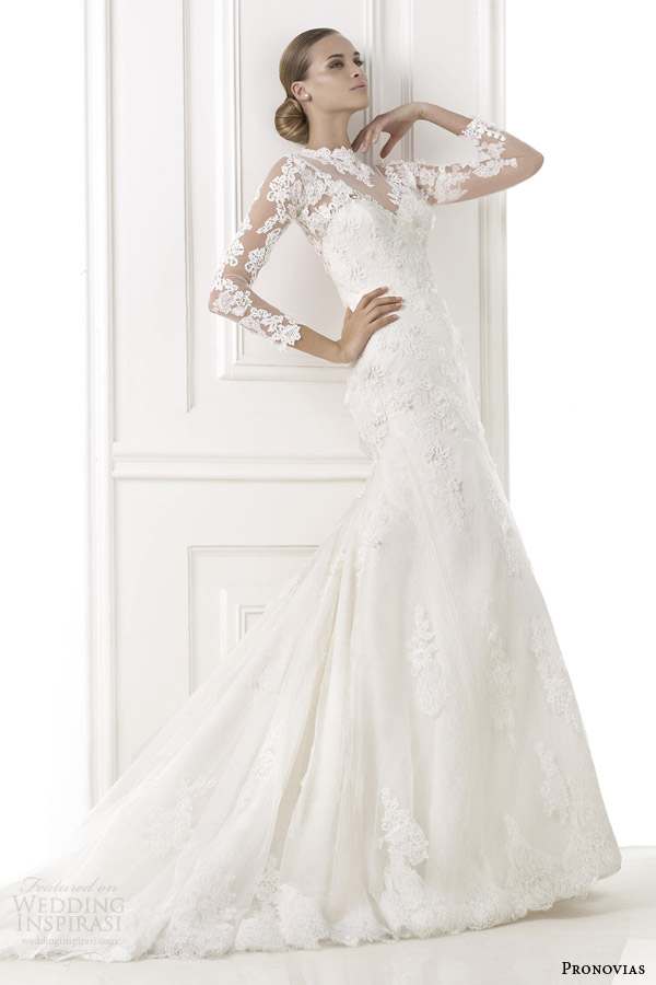 pronovias pre 2015 bridal bastion long sleeve wedding dress