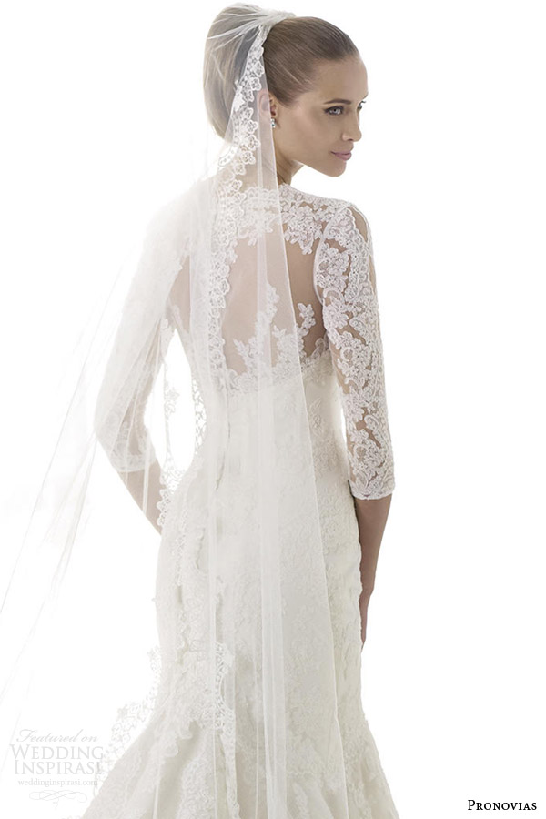 pronovias wedding dresses pre 2015 blake illusion long sleeve bridal gown back view